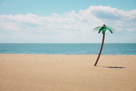 Fake palm tree on a beach