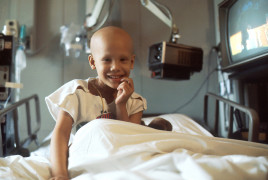 Girl receiving chemotherapy
